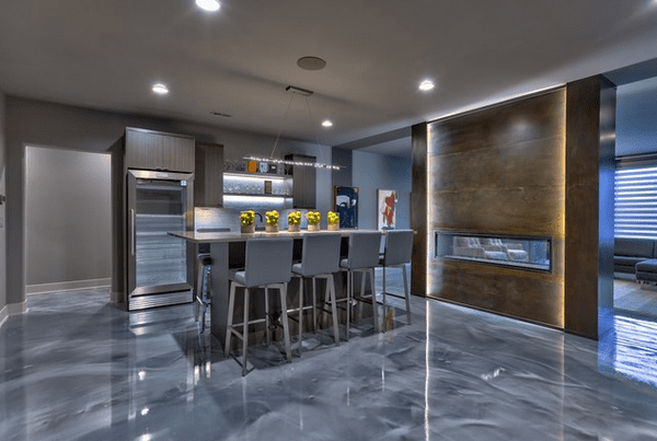metallic epoxy floor kitchen