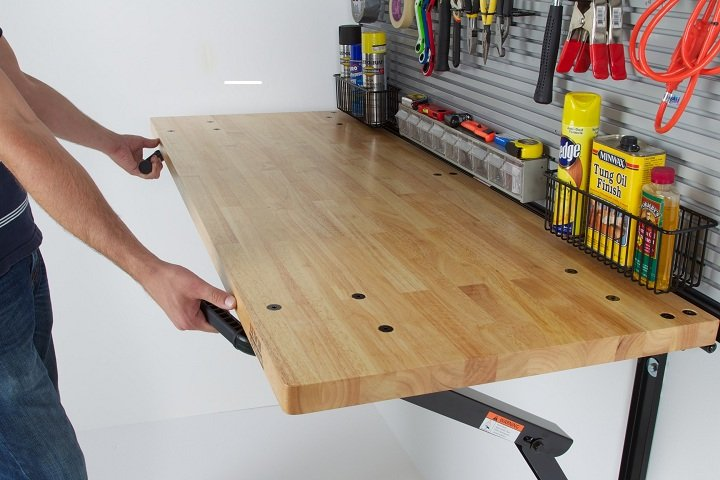 garage fold-down workbench